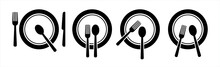 Set Of Fork, Knife, Spoon. Logotype Menu. Set In Flat Style. Silhouette Of Cutlery. Vector Illustration.