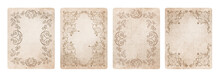 Ornamental Frames On Old Style Grunge Paper, Isolated On White Background