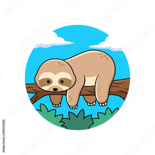 Fototapeta premium Cute sloth sleeping cartoon in tree. Animal Vector