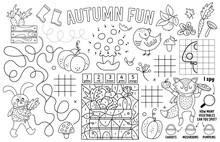 Vector Autumn Placemat For Kids. Fall Printable Activity Mat With Maze, Tic Tac Toe Charts, Connect The Dots, Find Difference, Crossword. Black And White Play Mat Or Coloring Page
