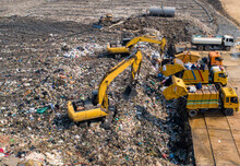 Garbage Trucks Are Working In The Waste Sorting Plant.