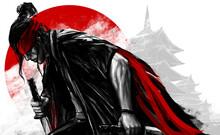 Artwork Illustration Of Japanese Samurai Warrior Kneeling With Swords.