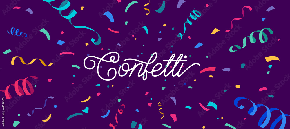 Obraz Confetti vector banner background with colorful serpentine ribbons, place for yours text at the center. Anniversary, celebration, greeting illustration in flat simple cartoon style with fun explosion fototapeta, plakat