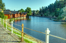 Walking On A Historical Cobbled Coastal Harbor Street With Nice Fence Posts In Porvoo Finland
