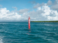 Okinawa,Japan - July 14, 2021: Navigational Aid Or Navigational Mark Or Signal Buoy Or Beacon Under The Management Of Japan Coast Guard Near Ishigaki Island, Okinawa, Japan