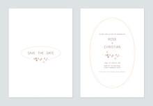 Minimalist Foliage Wedding Invitation Card Template Design, Brown Siamese Rough Bush Leaves On White