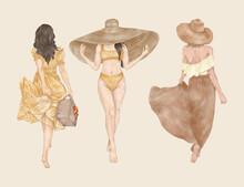 Fashion Travel Girls With Hat Bag Summer Dresses