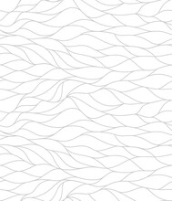 Curly Waves Tracery, Curved Lines, Stylized Abstract Petals Pattern. Seamless Leaf Background. Monochrome Outline White Texture. Organic Wallpapers For Printing On Paper Or Fabric. Vector