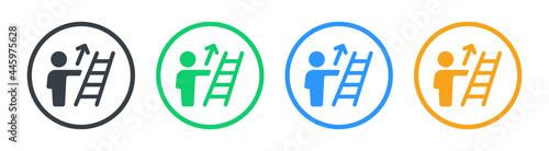 Fotografia Person ascending climb up ladder icon. Vector illustration