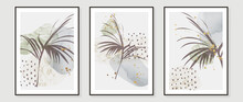 Contemporary Botanical Prints Wall Art. Abstract Art Background With Golden Line Art, Palm And Tropical Leaves. Watercolor Canvas Frame Design For Prints And Home Decor. Vector Illustration.