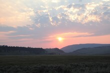 A Beautiful View Of The Sun Setting In Lamar Valley In Yellowstone National Park