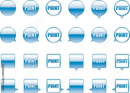Fotografie, Obraz ウェブサイトのポイントに用いる円形と正方形の青色アイコン ベクターセット