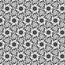 継ぎ目のない幾何学模様 渦巻く葉 生命感のある優雅でアンティークな柄 壁紙
