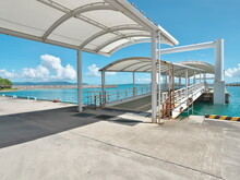 Okinawa,Japan - July 14, 2021: Floating Pier At Kuroshima Port In Kuroshima Island, Okinawa, Japan