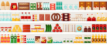 Supermarket Food. Grocery Shelves With Cereal Bread And Milk, Eggs Or Pasta. Market Showcase Template. Everyday Products. Bottles And Meal Containers. Vector Retail Store Background