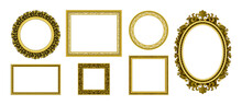 Golden Picture Frames. Royal Antique Photo Border. Empty Interior Old Style Ornamental Wall Elements. Round And Square Luxury Decorative Corners Set. Vector Portrait Frameworks Template