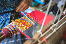 Close Up Thai Silk Are Weaving With A Loom, Thailand