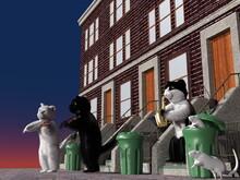 街中で楽器を弾く猫たち