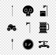 Set Medieval Spear, Skull, Executioner Axe In Tree Block, Chained Mace Ball, Round Wooden Shield, Catapult Shooting Stones, Wooden Four-wheel Cart And Icon. Vector