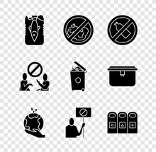 Set Stop Ocean Plastic Pollution, No Trash, Bottle, Hand Holding Earth Globe, Nature Saving Protest, Trash Garbage Cans Sorted, And Icon. Vector