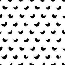 Doodle Birds Vector Seamless Pattern. Hand Drawn Stylized Birds, Modern Animal Abstract Background. Black Brush Strokes, Silhouette Shapes.  Background For Prints, Textile, Web Design, Wrapping Paper.