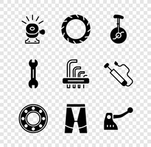 Set Bicycle Bell, Wheel Tire, Unicycle Or One Bicycle, Ball Bearing, Cycling Shorts, Brake, Wrench Spanner And Tool Allen Keys Icon. Vector