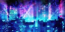 3d Render Of Science Fiction Chip Neon Cyberpunk City Night Panorama   3D Illustration Of Dark Futuristic Sci-fi City Lit With Blight Neon Lights