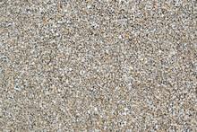 Dry White Limestone Ballast Flat Full Frame Background. Small Gray Dusty Broken Macadam Stones Texture.