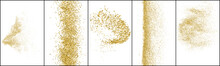 Set Of Gold Glitter Texture Isolated On White. Polka Dots Amber Color. Stardust Background. Golden Explosion Of Confetti. Vector Illustration, Eps 10.