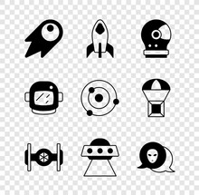 Set Comet Falling Down Fast, Rocket Ship, Astronaut Helmet, Cosmic, UFO Flying Spaceship, Alien, And Solar System Icon. Vector