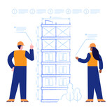Architects designs house construction drawing of future multi-storey building. Engineers works with blueprints and making measurements. Real estate business. Vector illustration scene with characters