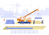 Construction site of building house concept. Team of builders makes pipeline, pipe laying in ground, truck crane loads pipes. Real estate business. Vector illustration scene with tiny characters
