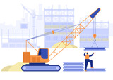 Construction site of building house concept. Crane loads plates, builder works on multi-storey buildings. Real estate business, industrial workers job. Vector illustration scene with people character