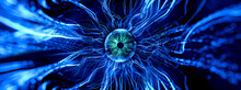 3d Render Of Conceptual Representation Of Neurons Mysterious Eye Ball With Luminous Links In Abstract Dark Space, High Resolution 3D Representation