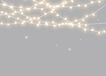 Christmas Lights. Bright Xmas Garland. Vector Glow Light Bulbs On Wire Strings.