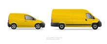 Realistic Vector Yellow Delivery Van Car Template On White Background. Delivery Service Vehicle