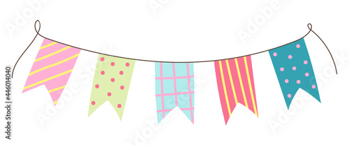 Fotografering Hand drawn colorful birthday flags for decoration