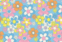 Retro Seamless Pattern With Flowers For Social Media Posts, Banner, Card Design, Etc.