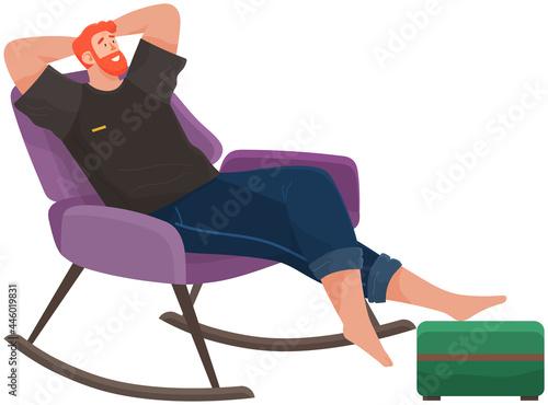 Obraz na plátně Man lying on sofa in apartment