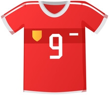 Sport Uniform Jersey, Red Soccer Shirt Flat Vector Clothing Element Isolated On White Background. Clothing For Team Play Of Athletes, Goalkeeper, Striker With Number And Emblems, T Shirt Icon