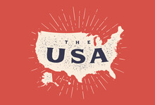 USA. Poster Map Of United States Of America. Print Map Of USA For T-shirt, Poster. Hand-drawn Map In Style With Linear Drawing Light Rays, Sunburst And Rays Of Sun. Vector Illustration