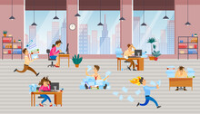 Stressed Cartoon Characters Working At Workplaces. Office Workers Hurry Up With Assignments. People Run, Rush, Do Paperwork To Deal With Deadline. Chaos And Bustle In Office Due To Deadlines