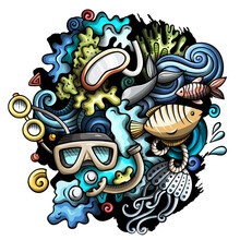 Diving Cartoon Vector Doodles Illustration. Water Sports Elements And Objects Background. Bright Colors Funny Picture. All Items Are Separated