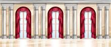 Vector Palace Interior Background, Castle Hall, Marble Ballroom, Classic Arch Window, Stone Pillar. Baroque Gallery Indoor Space, Greek Column, Floor, Luxury Exhibition Gallery. Palace Interior Design
