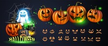 Vector Illustration. Yellow Pumpkins For Halloween. Jack-o-lantern Facial Expressions. Horror Persons On Dark Background