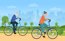 Elderly People Ride Bike Bicycle In City Park Vector Illustration. Cartoon Cityscape With Silhouettes Of Skyscrapers, Funny Bicyclist Senior Man Woman Characters Cycling, Healthy Lifestyle Background