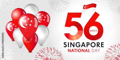 56 Years Anniversary of Singapore National Day with balloons and flag Fototapeta