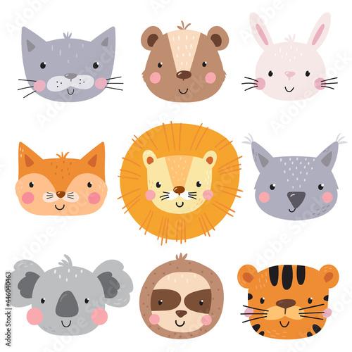 Fototapeta premium Cute lion, bear, cat, rabbit, sloth, tiger, koala, fox, bunny. Hand drawn vector illustration for posters, cards, t-shirts. Printable templates