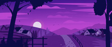 Night Countryside Village Farm Landscape Vector Illustration. Cartoon Night Country Scene With Road To Farmer Houses And Garden Through Farmland Hills, Silhouettes Of Rural Fence And Trees Background
