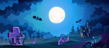 Halloween Landscape With Scary Dark Castle And Graves With Flying Bats. Full Moon Shining On Cemetery, Spooky Evening In Boneyard. Memorial Park Or Crypts Graveyard. Cartoon Vector Illustration